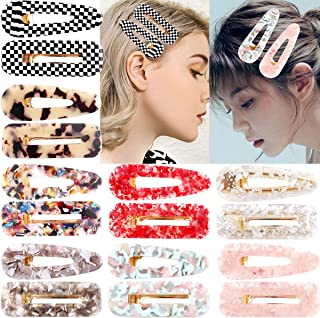 CELLOT 16PCS Acrylic Resin Hair Barrettes Gold Duckbill Totoise Clips Fashion Geometric Alligator Hair Clips for Women and Youngster Ladies Hair Accessories