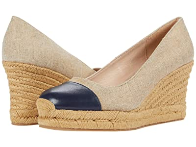 Jack Rogers Palmer Cap Closed Toe Wedge (Natural/Midnight) Women