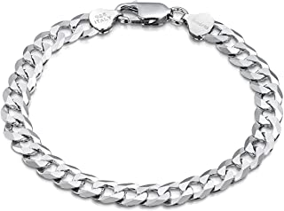 Amberta 925 Sterling Silver Bracelet - Various Styles - 8 mm Thick - Flat Cuban Curb Chain for Men - Length 8 Inch