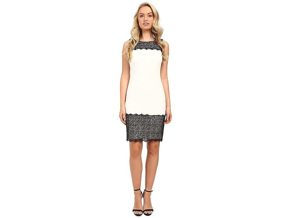 Calvin Klein Sheath with Lace Detail (Soft White) Women