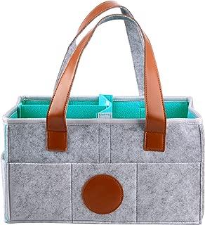 Wifehelper Baby Diaper Caddy Organizer Multifunctional Felt Baby Nursery Storage Basket Organize Bag for Diaper Nappies Blue-green