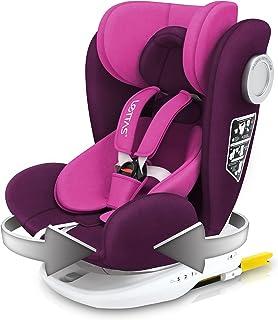 LETTAS Baby Autositz 360° drehbar Gruppe 01/2/3 0-36 kg/0-12 Year mit Protektoren seitliche Isofix Top Tether ECE R44/04 Lila