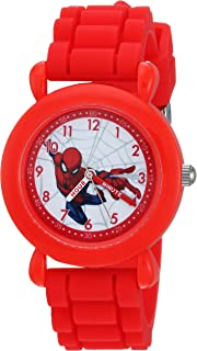 MARVEL Boys Spider-Man Analog-Quartz Watch with Nylon Strap, red, 20 (Model: WMA000231)