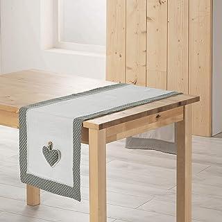 douceur d'intérieur 3002763 Chemin de Table Fanny Polyester Gris/Blanc 40 x 140 cm