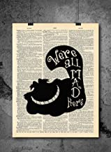 Cheshire Cat Silhouette – We're All Mad Here Wall Art – Vintage Art..
