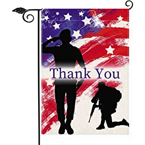 American Flag Patriotic Soldier Thank You Garden Flag Vertical Double Sized 12.5 x 18 Inch, Patriotic Theme Memorial Day 4th of July Veterans Day Labor Day Burlap Yard Outdoor Hanging Flag Decor