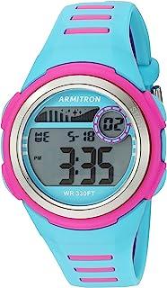 Armitron Sport Women's 45/7069LBL Magenta Accented Digital Chronograph Light Blue Resin Strap Watch
