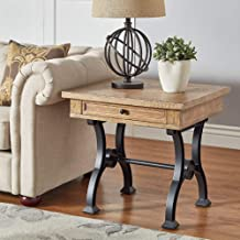 iNSPIRE Q Artisan Lloyd Wood and Metal Trestle Base End Table by
