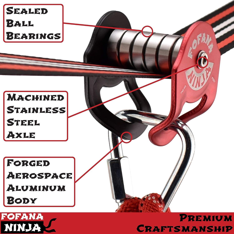 Fofana Ninja Slider Slackline Pulley Kit Ninja Warrior Obstacle Course for Kids Slack Line Zip Ninja Course and Swing Includes Slackline Sports /& Outdoor Play Toys 65 Ft Slider Pulley