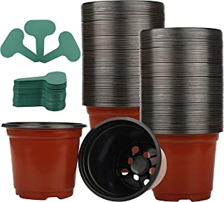 """120 Pack 4"""" Plastic Plant Nursery Pots Pack for Seedling & Cutting, Plant Seed Starting with 120 Pcs Green Plant Labels"""