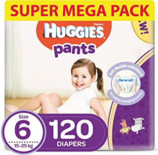 Huggies Active Baby Pants - Size 6, 15-25 kg, 120 Diapers Pants