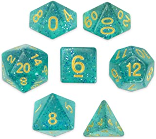 Wiz Dice Celestial Sea Set of 7 Polyhedral Dice, Translucent Turquoise Blue & Silver Glitter Tabletop RPG Dice with Clear Display Box