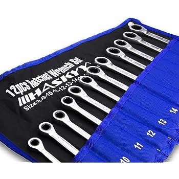 HASKYY Juego de 12 Llaves Combinadas 8-19 mm I en una práctica bolsate: Amazon.es: Bricolaje y herramientas