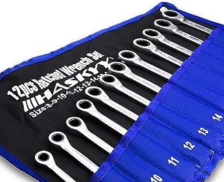 Kombinationsnyckelset 12 delar I skiftnyckelset metrisk 8-19 mm I matt-färdig - i praktisk väska