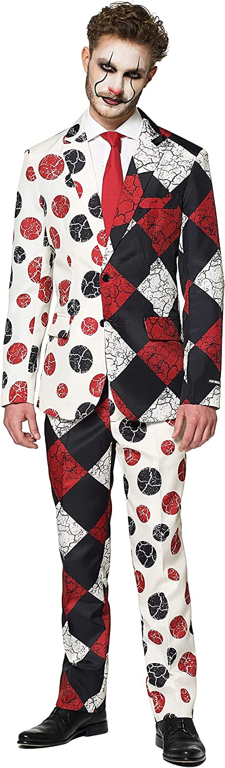 SUITMEISTER Scary Clown Halloween Suit   Mens Slim Fit   Includes Matching Blazer Jacket, Pants & Tie