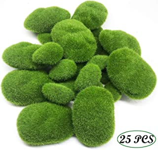 Woohome 25 PCS 2 Size Artificial Moss Rocks Decorative, Green Moss Balls, Fake Moss Decor for Floral Arrangements, Fairy Gardens and Crafting (25-2 Size)