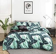 YuHeGuoJi 3 Pieces Duvet Cover Set 100% Cotton King Size Green Banana Leaves Bedding Set 1 Tropical Botanical Print Duvet ...