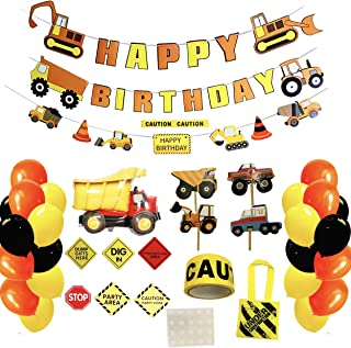 Construction Birthday Party Supplies Set by BNY Gifts, Toddler Party Favors, Kids Dump Truck Tractor Decorations Kit, 100 pack, w Happy Birthday Banner, 30 Balloons, Traffic Signs, Mini Tote bags, Construction tape, and more