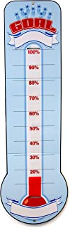 "Goal Setting Thermometer Chart – Reusable Dry Erase Goal Chart with Adjustable Goal Tracking Red Ribbon, Tri-Folds for Easy Storage – 48"" x 11"" with Hanging Grommet Holes"