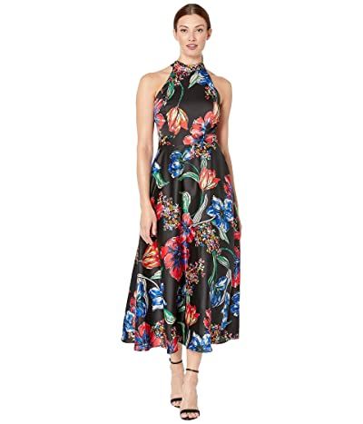 Tahari by ASL Sleeveless Printed Maxi with High Neckline (Painted Blossoms) Women