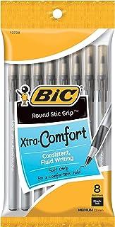 BIC Round Stic Grip Xtra Comfort Ballpoint Pens, Black, Pack of 8