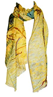 Hand drawing art and printing scarf, trees and sea