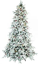 ABUSA Flocked Snow PE/PVC Mixed Pine Artificial Christmas Tree 7.5 ft Prelit Clearance with 700 UL Warm White LED Lights Metal Stand