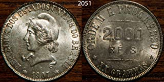 1907 - 1907 Brazil 2000 Reis KM#508 2000 reis Seller BU Uncirculated