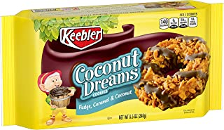 Keebler Fudge Stripes Cookies, Coconut Dreams, Flavors of Fudge, Caramel and Coconut, 8.5 oz Tray(Pack of 4)