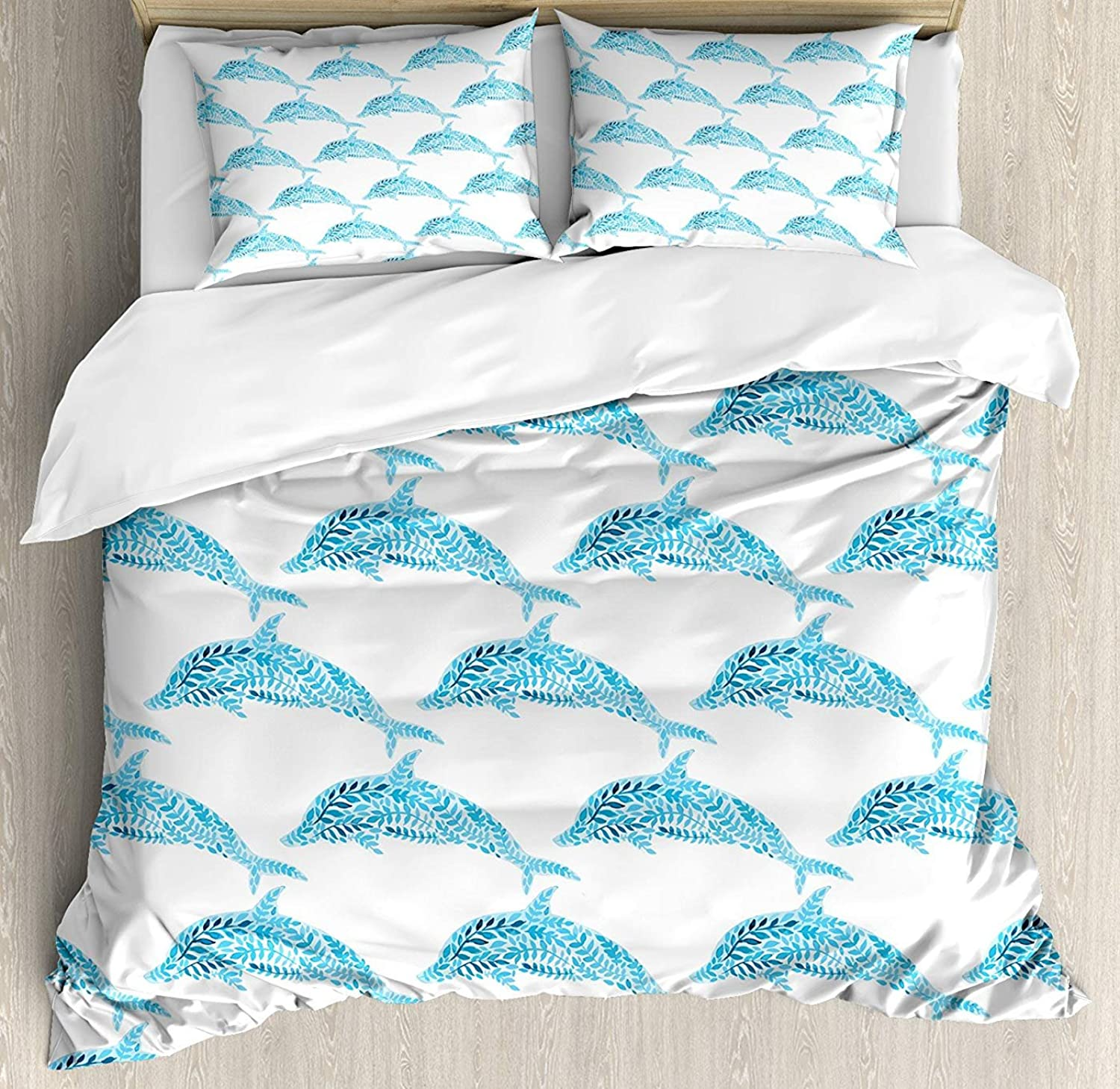 Sea Animals Duvet Cover Set Full Size, Aquatic Dolphin Figures with Leaf Ornamentals Abstract Artwork Playful Fish,Lightweight Microfiber Duvet Cover Sets, bluee White