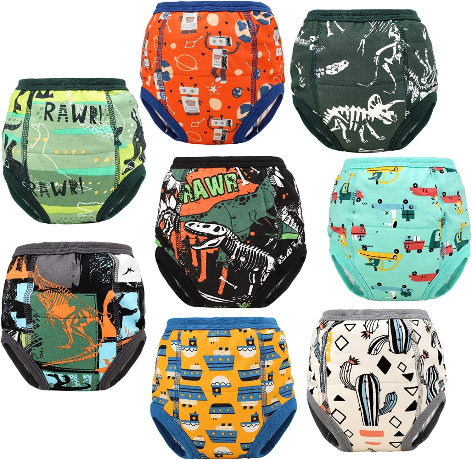 8 Packs Toddler Training Underwear for Boy and Girls Strong Absorbent Cotton Training Pants for Baby Potty Training 2-5T