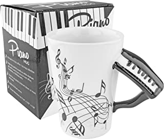 Fairly Odd Novelties Black Piano Coffee Mug, Ceramic, White