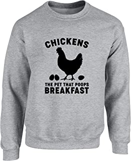 Hippowarehouse Chickens The Pet That Poops Breakfast Unisex Jumper Sweatshirt Pullover (Specific Size Guide in Description)