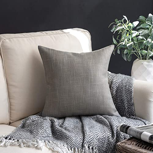 lowest Phantoscope Throw Pillow Cover Soft Textured Lined Burlap Cushion Covers discount Pillowcase for Home 2021 Decor Car Sofa Couch Dark Grey 20 x 20 inches 50 x 50 cm sale