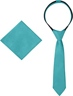 Ties For Boys - Necktie & Pocket Square - Pre-Tied Woven Kids Zipper Tie, School Uniforms Wedding