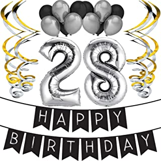 Sterling James Co. 28th Birthday Party Pack - Black & Silver Happy Birthday Bunting, Balloon, and Swirls Pack- Birthday Decorations - 28th Birthday Party Supplies