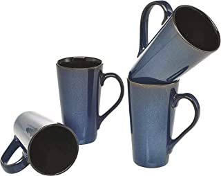 Culver Serenity Cafe Grande Ceramic Mug, 16-Ounce, Blue, Set of 4