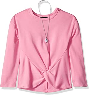 Amy Byer womens Twist Front Long Sleeve Knit Shirt with Necklace Tunic Shirt