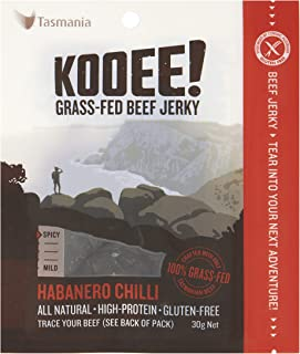 KOOEE! Grass-fed Beef Jerky Habanero Chilli, 1 x 10 Count