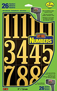 """Best Hy-Ko Products MM-5N Self Adhesive Vinyl Numbers 3"""" High, Black & Gold, 26 Pieces Review"""