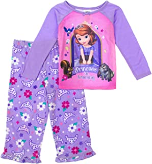 Little Girls Princess Sofia Long Sleeve Top & Fleece Pants Pajama Set