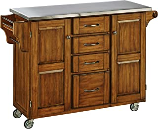 Home Styles Create-a-Cart Series Cuisine Cart with Stainless Steel Top, Warm Oak, 52-1/2-Inch