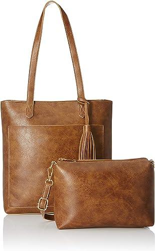 Women S Handbag With Pouch Tan Set Of 2