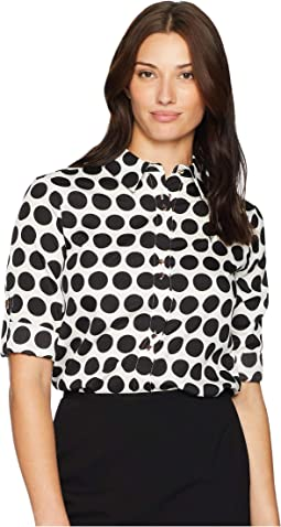 Long Sleeve Polka Dot Button Up Top