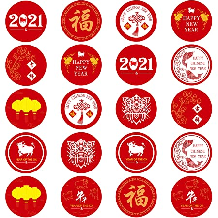 3 Sheets of 240 Pieces Chinese New Year Candy Labels Stickers 2021 Year of Ox Circle Candy Stickers Round Candy Sticker Labels for New Year Party Home Decoration