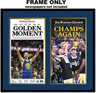 San Francisco Chronicle Newspaper Frame - with Golden State Warriors Colors Double Mat