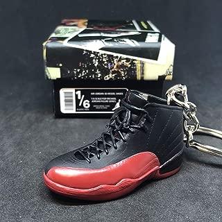 Air Jordan XII 12 Retro Flu Game Black Red OG Sneakers Shoes 3D Keychain 1:6 Figure + Shoe Box