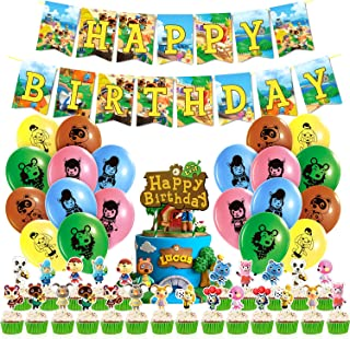 Animal Crossing Birthday Party Supplies, HAFTSS 46Pcs Animal Crossing Party Gifts, Include Balloons, Happy Birthday Banne...