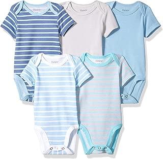 Hanes Ultimate Baby Baby-Boys BF1BS5 Flexy 5 Pack Short Sleeve Bodysuits Bodystocking - Multi