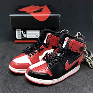 Pair Air Jordan I 1 High Retro Homage To home OG NRG Sneakers Shoes 3D Keychain 1:6 Figure + Shoe Box